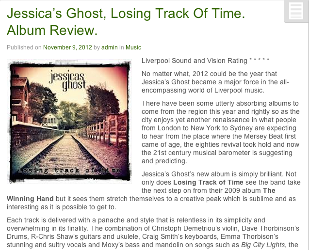 "Liverpool Sound & Vision - Jessicas Ghost ""Losing Track Of Time"" Album Review"