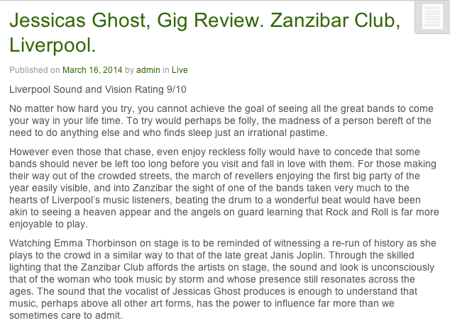 Liverpool Sound & Vision - Gig Review March 2014